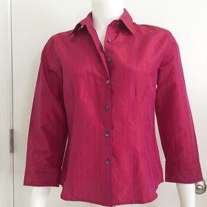 NWT Ann Taylor Loft Shirt Silk Blend Raspberry